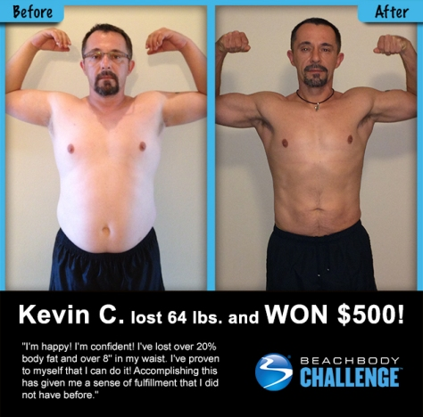 Kevin lost 64 pounds with P90X